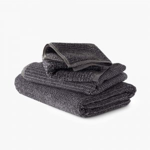 Textured Tweed Coal Towel
