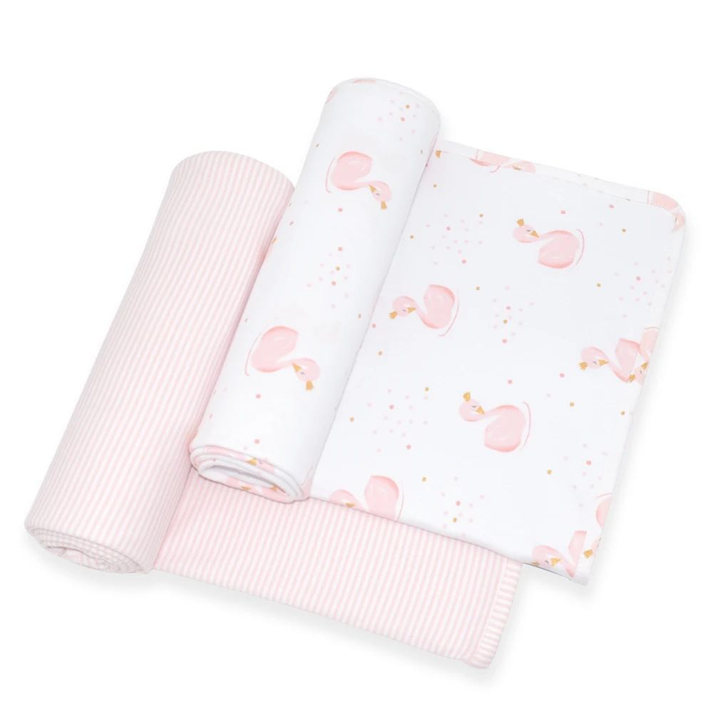 Swan and Pink:White Stripe Swaddle