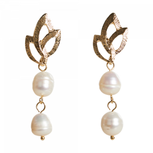 Pearl Leaf Drop Earring