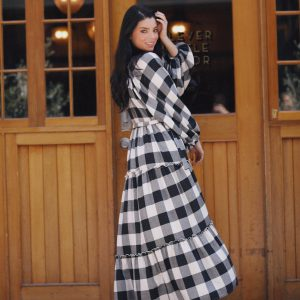 Black and White Check Wing and a Prayer Maxi Dress